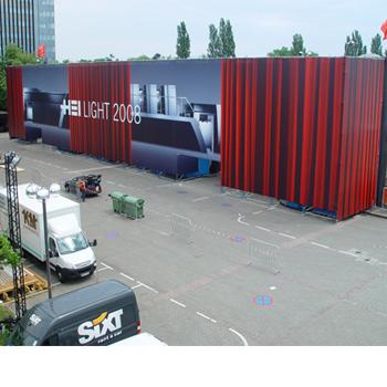 Verkleidung einer Messehalle für die Fa. Heidelberg Druckmaschinen auf der Drupa 2008 in Düsseldorf